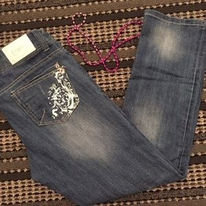 CANDIES Straight Embellished Paint Mid-Rise Jeans